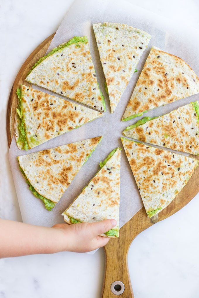 Avocado Quesadilla Cut into Triangles