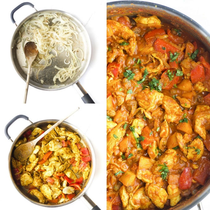 Fruity Chicken Curry Steps. 1) Pan with Sautéed Onion, 2) Pan with Chicken, Spices and Vegetable 3) Pan with Finished Curry for Kids