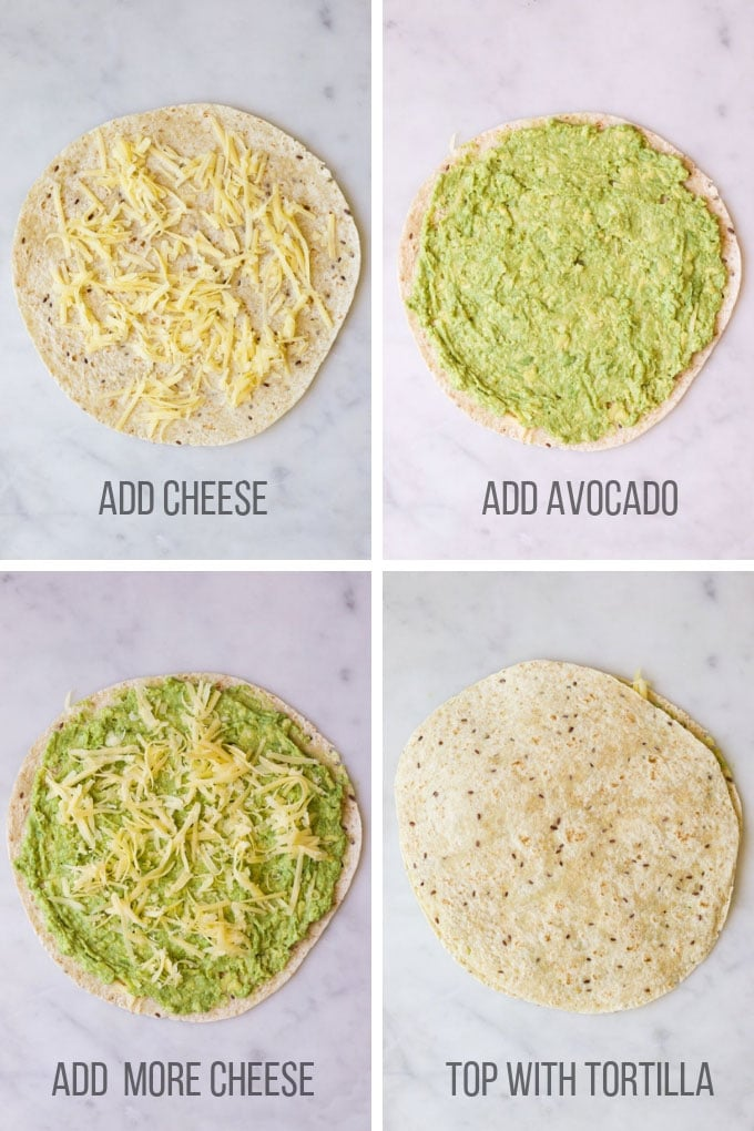 Avocado Quesadillas Process Steps