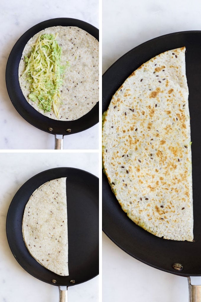 Avocado Quesadillas Process Steps (Folded Method)