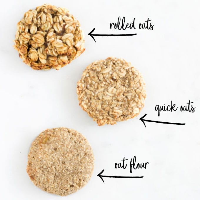 3 Banana Oat Cookies - 1) Made with Rolled Oats 2) Quick Oats and 3) Oat Flour