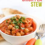 This is an amazing one pot family meal that will be guaranteed to become a regular in you meal plan. Packed with flavour with succulent chicken, this is a family meal that will delight all. #familymeal #onepotmeal #kidsfood #chicken #chickpeas #chickenchickpeastew #chickenstew #chickpeastew