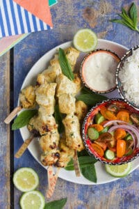 Chicken tikka skewers, lightly spiced and perfect for kids. Great served with rice and salad or stuffed into a sandwich.