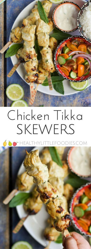 Chicken tikka skewers, lightly spiced and perfect for kids. Great served with rice and salad or stuffed into a sandwich. #kidsfood #kidfood #chickentikka #foodonastick