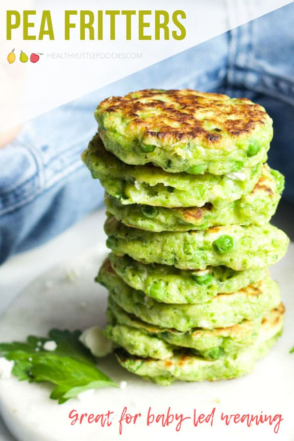 Pea fritters are a great finger food for kids. Delicious hot or cold and great for the lunchbox. A great baby-led weaning finger food. #peafritters #babyledweaning #kidsfood #lunchbox #lunchboxideas