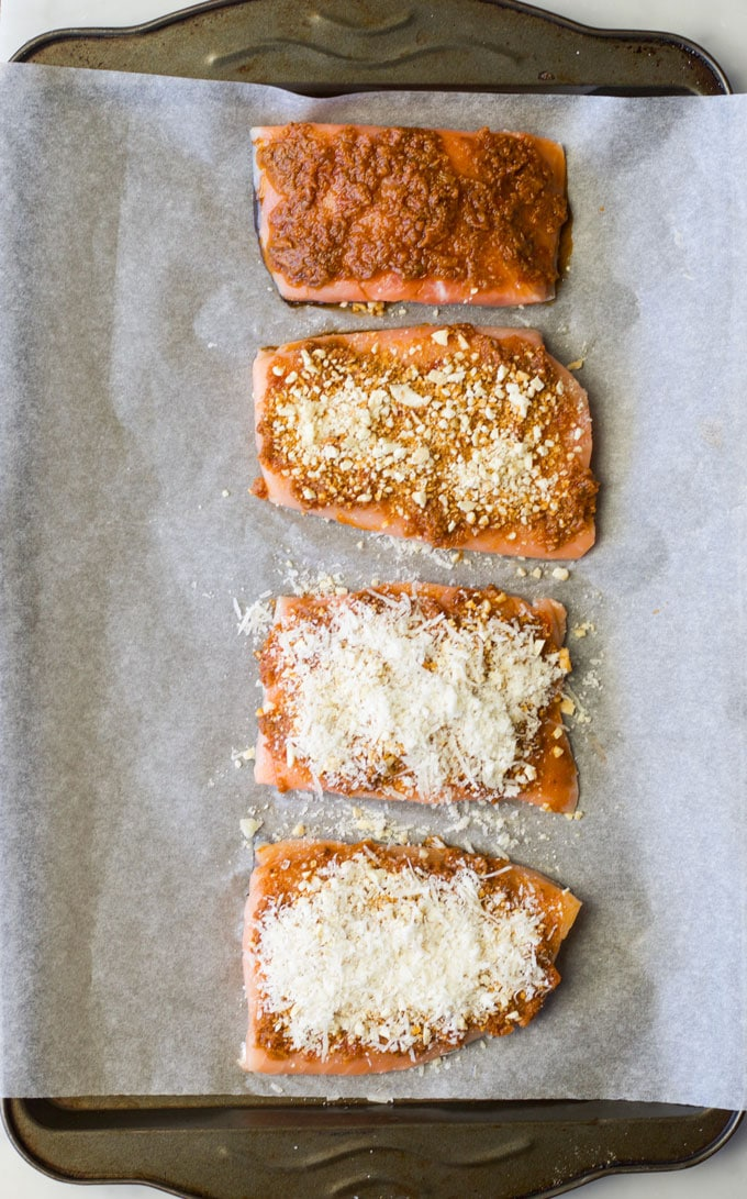 Sundried Tomato Salmon Fillets Process Steps for adding Crust