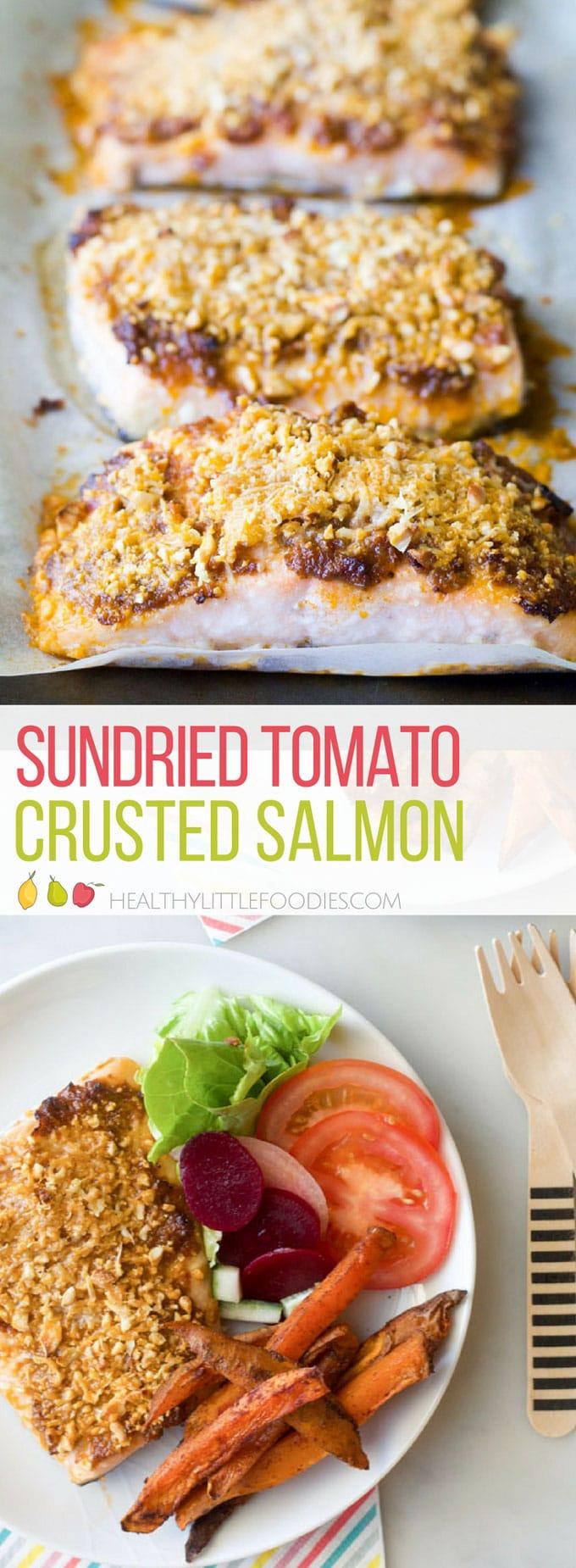 Sun-dried Tomato Crusted Salmon. Quick to prepare, easy and delicious. Kid friendly