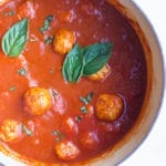Turkey Meatballs in Pan with Tomato Sauce