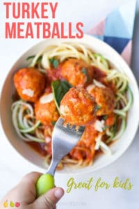 These turkey meatballs cooked in a tomato sauce are succulent and tender. A great family dish and a kid friendly meal. #turkeymeatballs #meatballs #kidsfood #toddlerfood #blw #familymeals