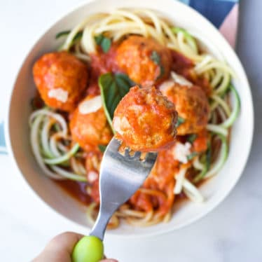 Turkey Meatballs in Bowl with Spaghetti and Tomato Sauce