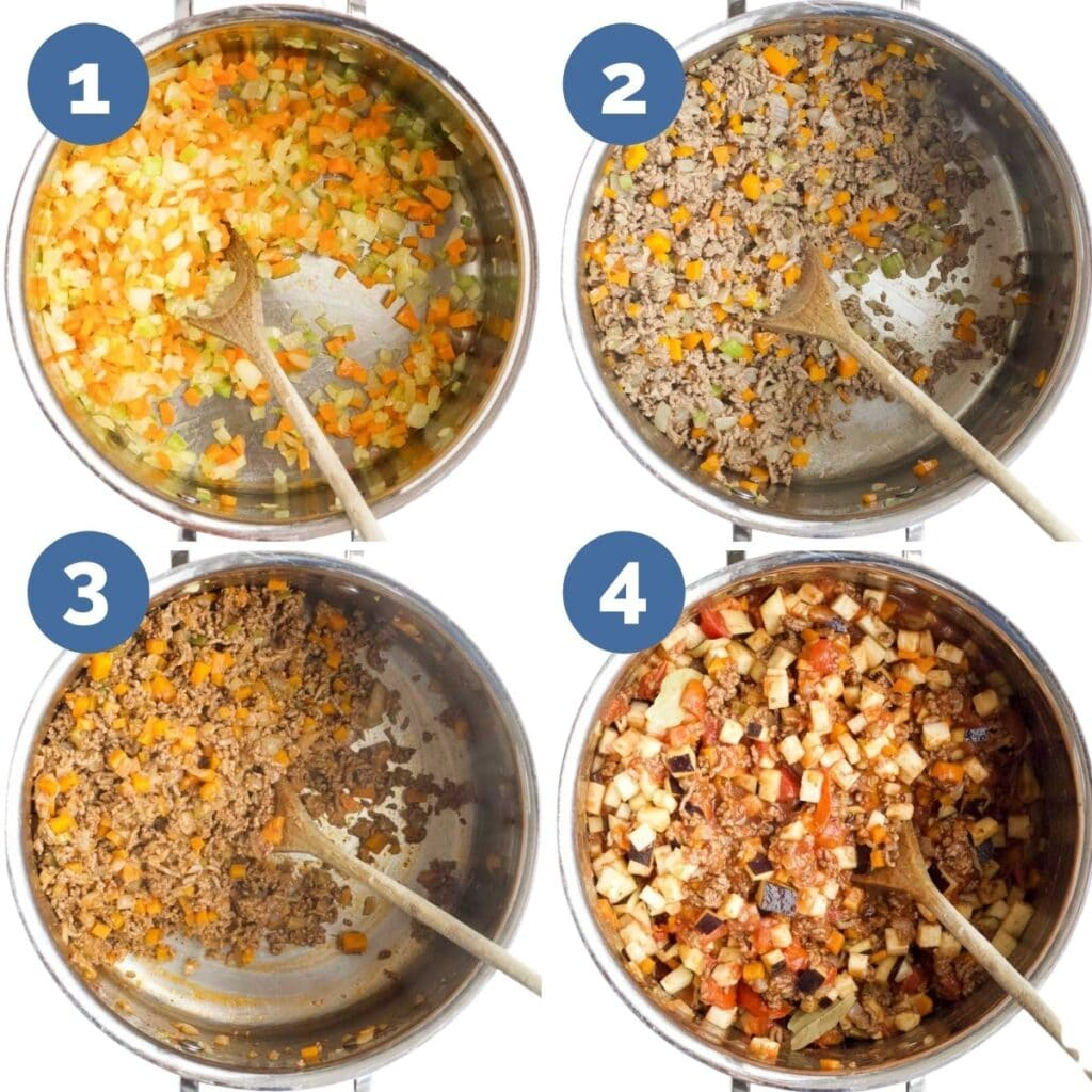 Collage of 4 Images Showing How to Make Baby Bolognese