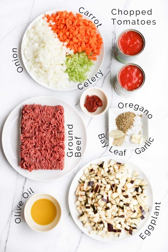 Flat Lay of Ingredients Needed to Make Baby Bolognese