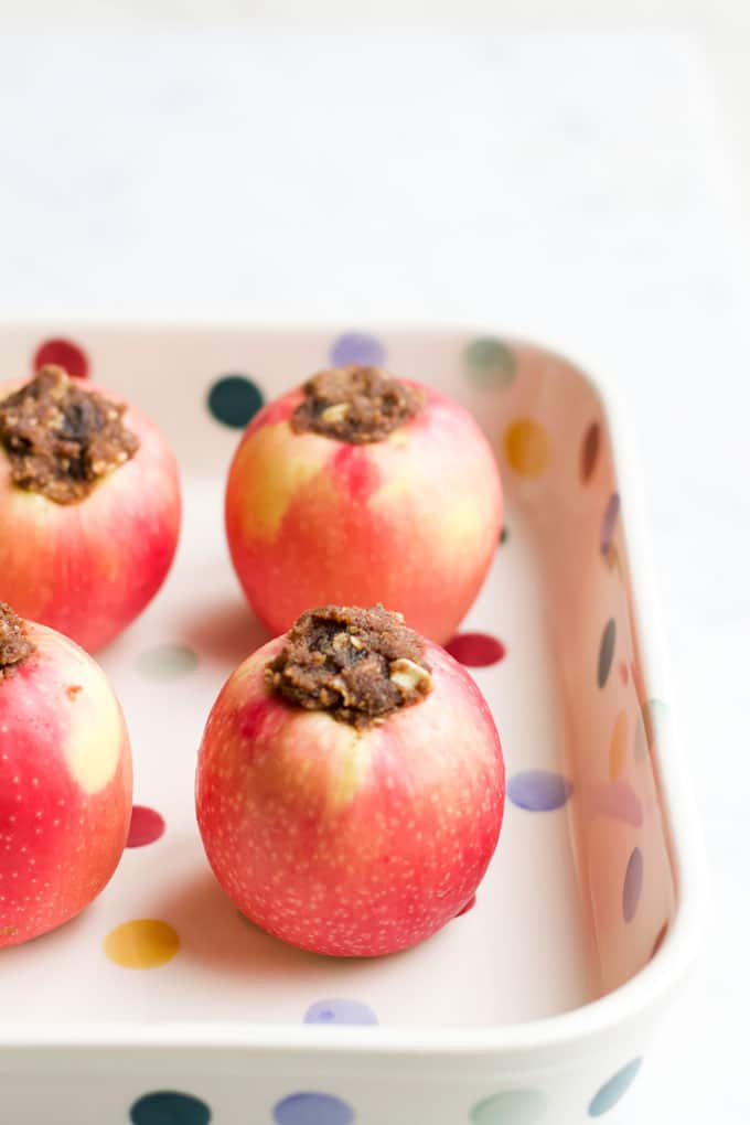 Filled Apples in Baking Dish Before Baking