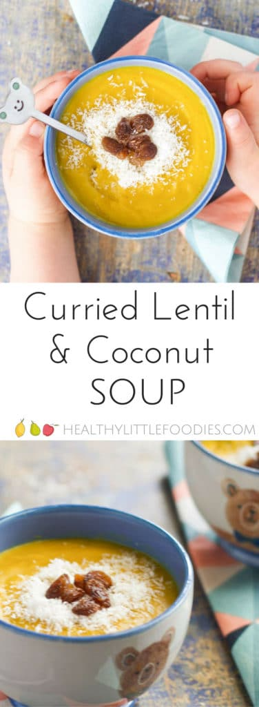 curried lentil and coconut soup. A deliciously spiced soup with sweet toppings to complement the spices. A fun and delicious soup for kids.