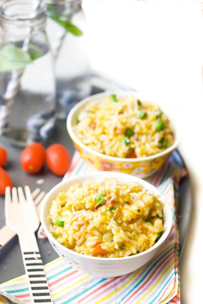 Vegetable Risotto in Kids Bowls
