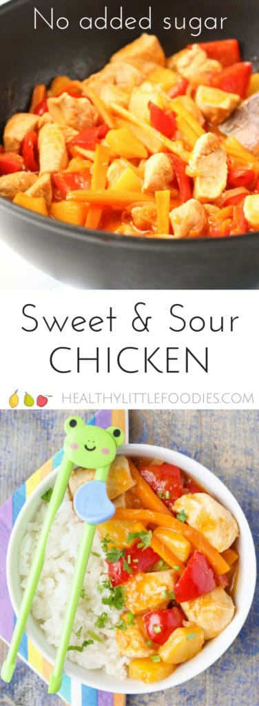 This sweet and sour chicken contains no refined sugar and is sweetened with pineapple juice. A deliciously sweet and tangy family meal that kids love.