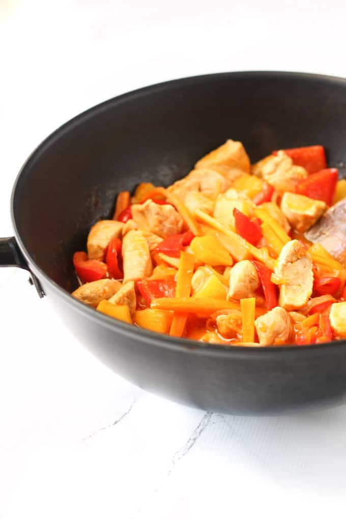 sweet and sour chicken with no added sugar. Naturally sweetened with pineapple juice. A great family friendly meal