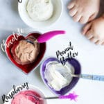 Four flavours of banana ice cream with suggestions of a range of other flavours. #noaddedsugar #banana #frozenbanana #bananaicecream #nicecream #healthydessert #kidsfood #blw #babyledweaning