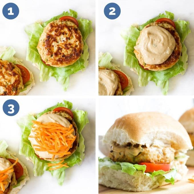 Building the Perfect Satay Burger Steps 1) Add Lettuce, Tomato & Burger 2) Add Satay Sauce 3) Add Grated Carrot 4) Add Bun Top