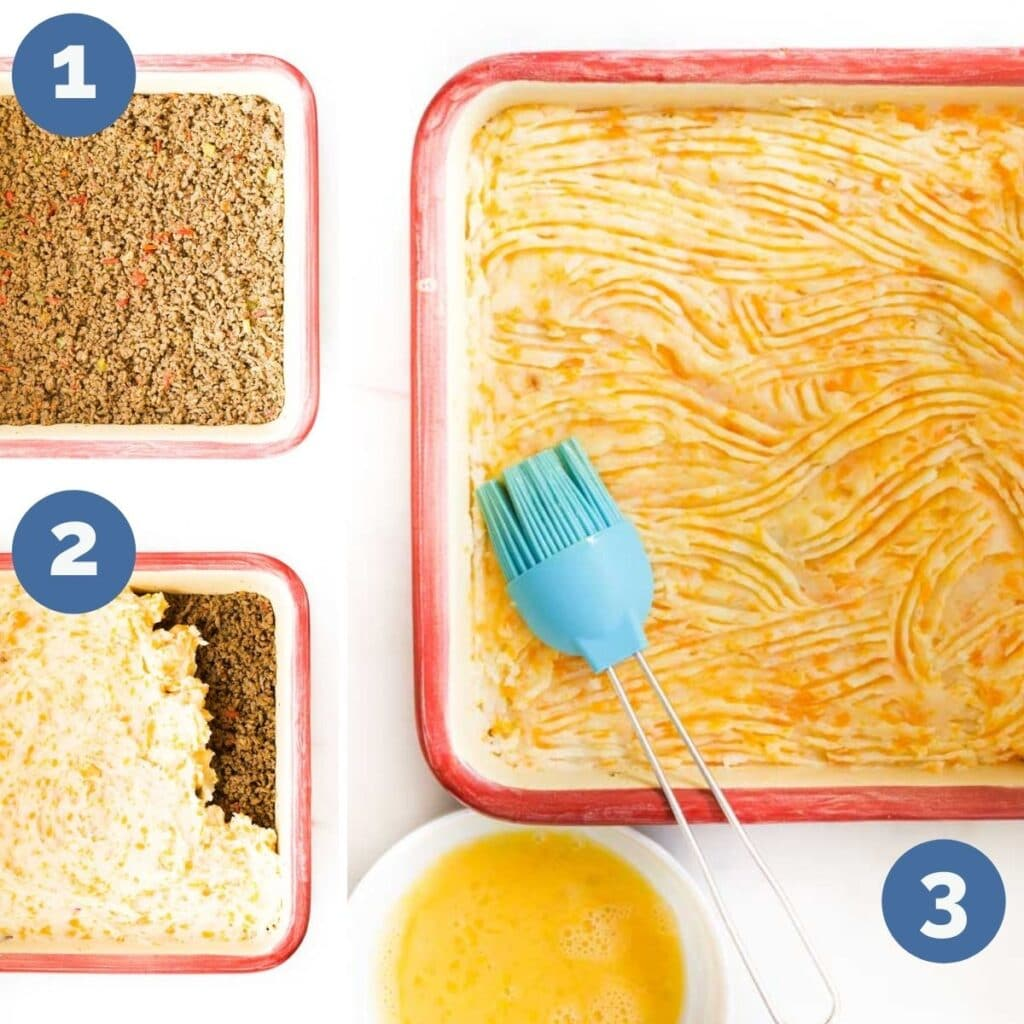 Collage of 3 Images Showing How to Assemble Cottage Pie