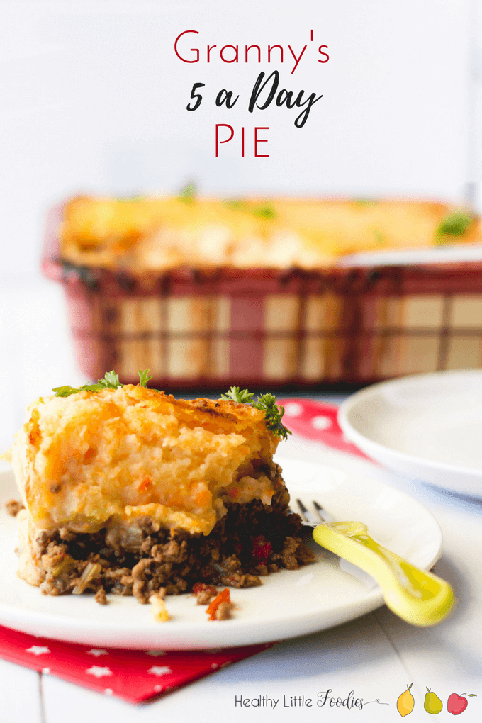 five a day pie, a cottage pie with 5 different hidden fruit / veg. Great for fussy eaters.