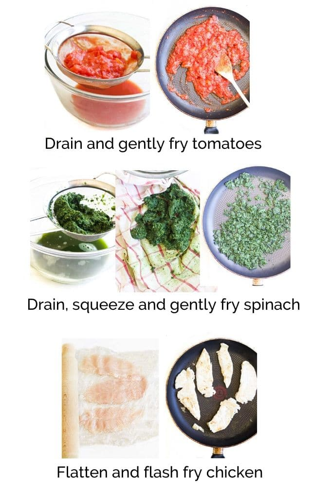 How to Make Chicken Florentine (Process Steps for Tomato, Spinach & Chicken Layers)