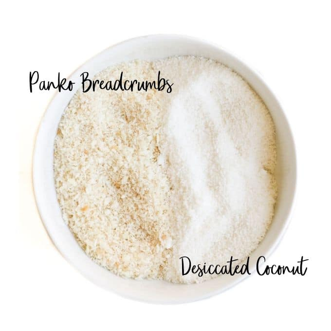 Bowl Panko Breadcrumbs and Desiccated Coconut Mix