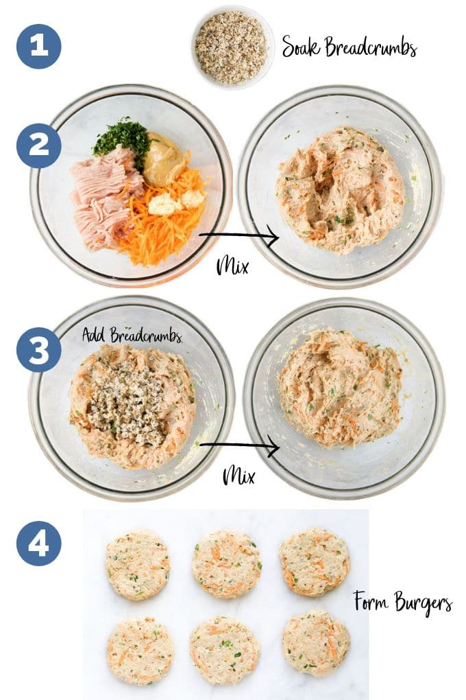 Visual Guide to Various Stages of Forming Satay Chicken Patties (Ingredients Before and After Mixing & Patties Formed)
