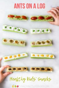 A fun way to encourage kids to eat their veggies. Celery filled with various spreads and toppings. The post sahred more ways to enjoy this fun kids snack. #kidsfood #healthysnack #funfood #healthykids