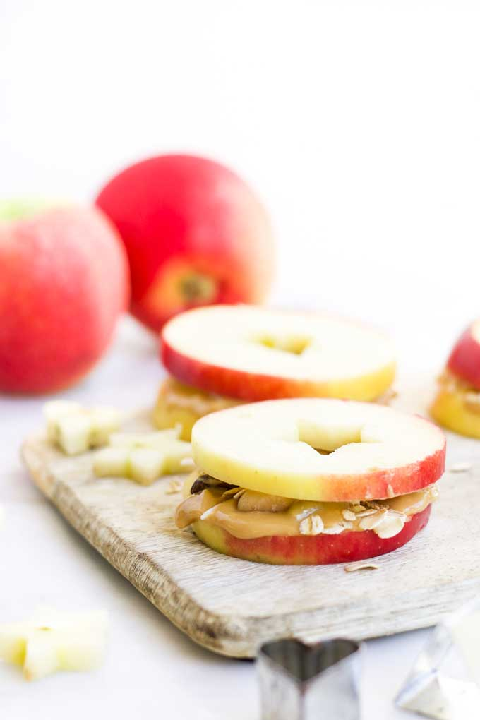 Apple and Peanut Butter Sandwiches on Board