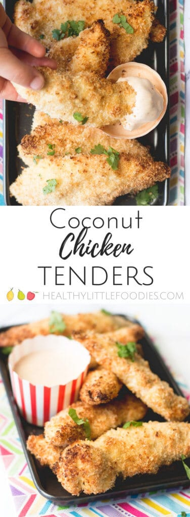 Coconut chicken tenders. A delicious and healthier alternative to chicken dippers. Baked, not fried, and a fun dish for the kids to help make