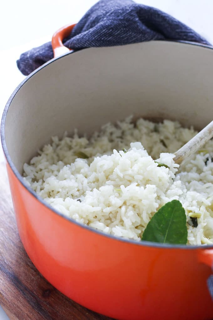 Side View of Coconut Rice with Lime