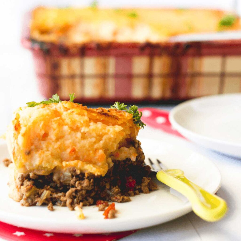 Side Shot of Cottage Pie Serving on Plate