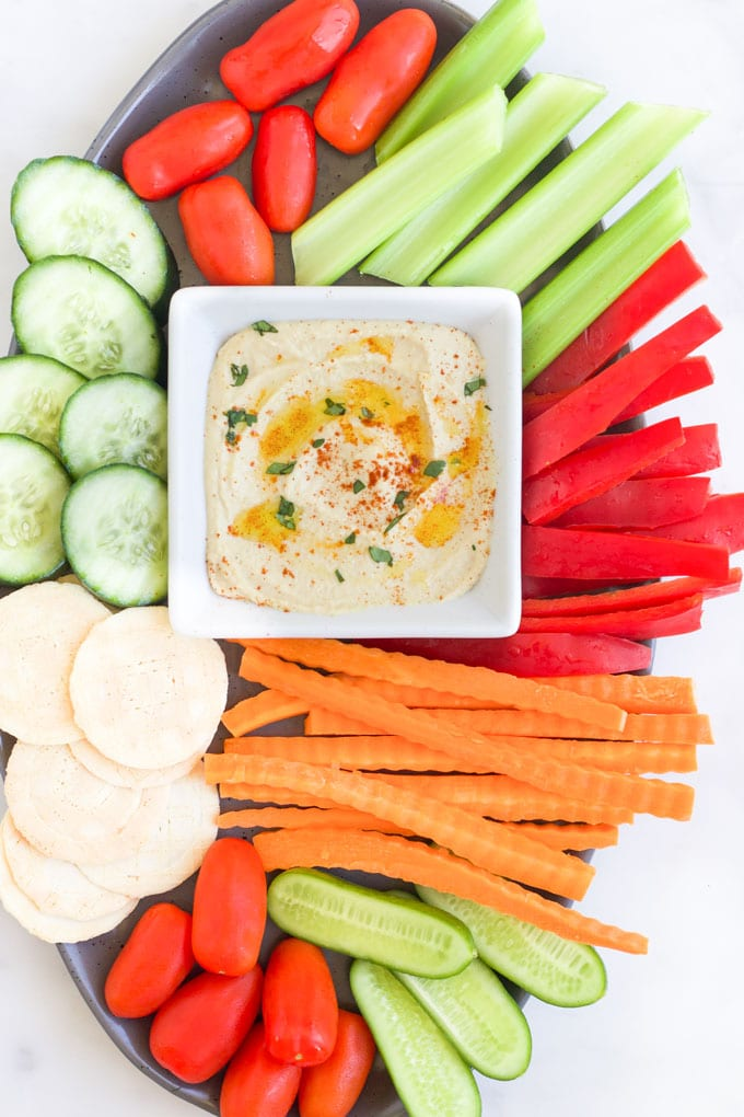 Hummus Served with Chopped Raw Veggies