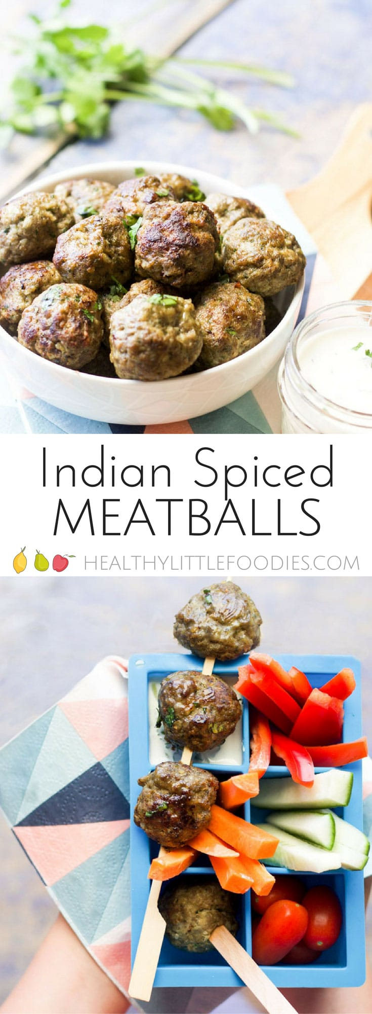 Lamb mince, spices & spinach are mixed together and then formed into balls to make theses Indian Spiced Meatballs. Great for baby-led weaning, kids & adults. #kidslunchideas #kidsfood #kidfood #babyledweaning