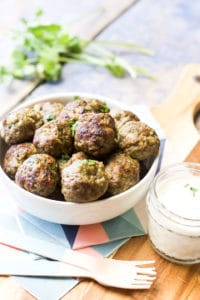 Lamb mince, spices & spinach are mixed together and then formed into balls to make theses Indian Spiced Meatballs. Great for baby-led weaning, kids & adults