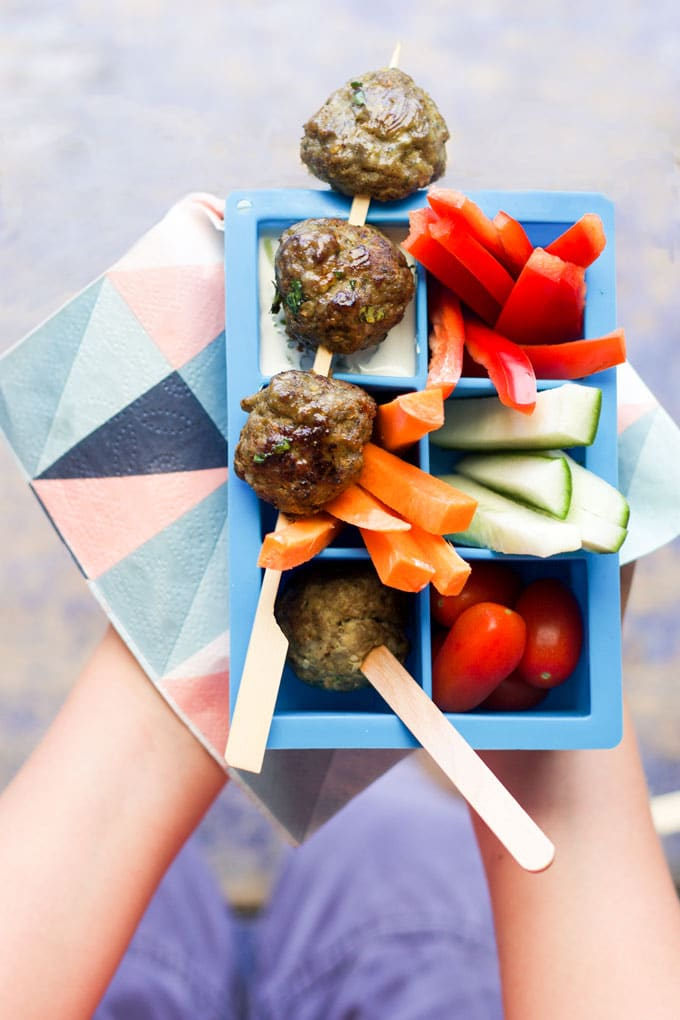 Lamb mince, spices & spinach are mixed together and then formed into balls to make theses Indian Spiced Meatballs. Great for baby-led weaning, kids & adults. Serve on a stick with veggies and a dip for a kid friendly lunch.