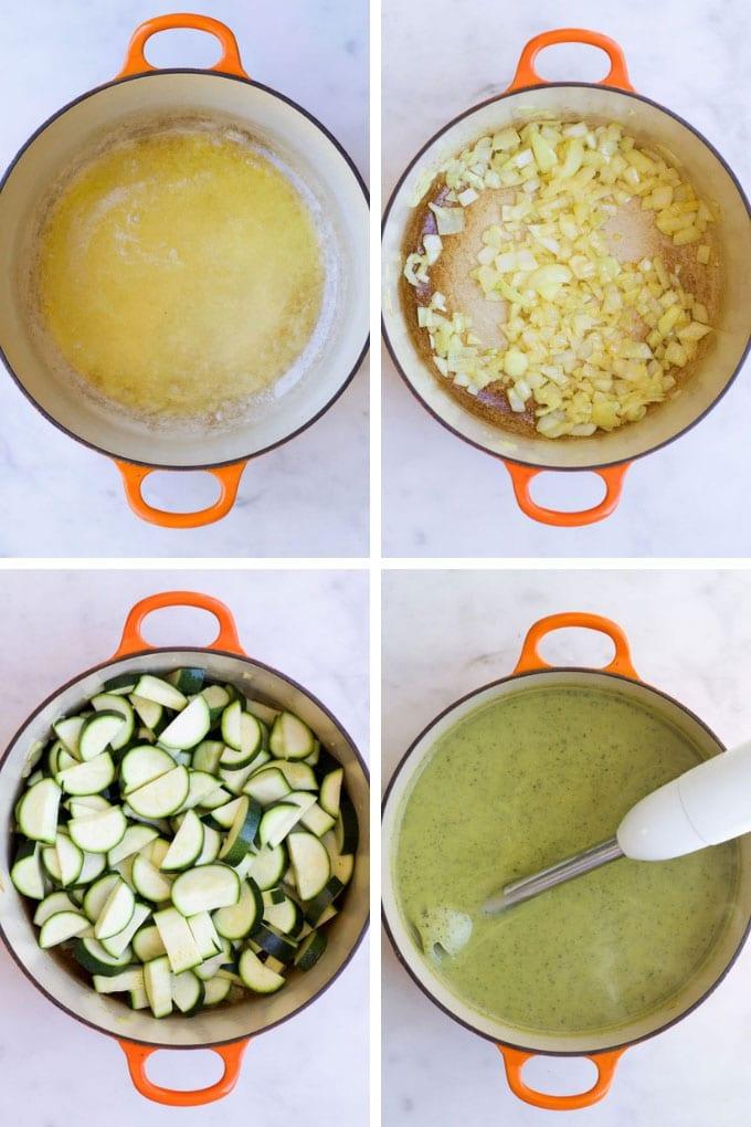 Courgette Soup Process Steps