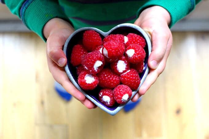 greek yogurt filled raspberries