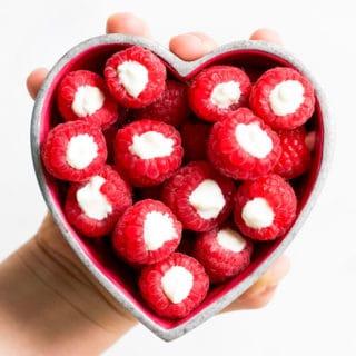 Yoghurt Filled Raspberries in Heart Shaped Bowl