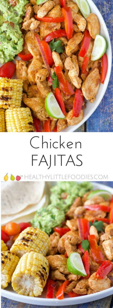 chicken fajitas - no added salt or sugar making them perfect for kids. A fun interactive meal, serve with a range of veggies, dips and sauces and allow your kids to build their own. #kidsfood #kidfood #familystyle #nosalt #sugarfree