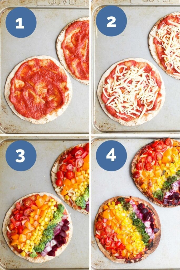 Collage of 4 Images Showing How to Make Pita Pizzas. 1) Add pizza sauce to pita bread 2) Add grated cheese 3) Add vegetables 4) Pizza Cooked