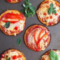 Cauliflower base mini pizzas - a great way to add more veggies into a kid favourite dish.