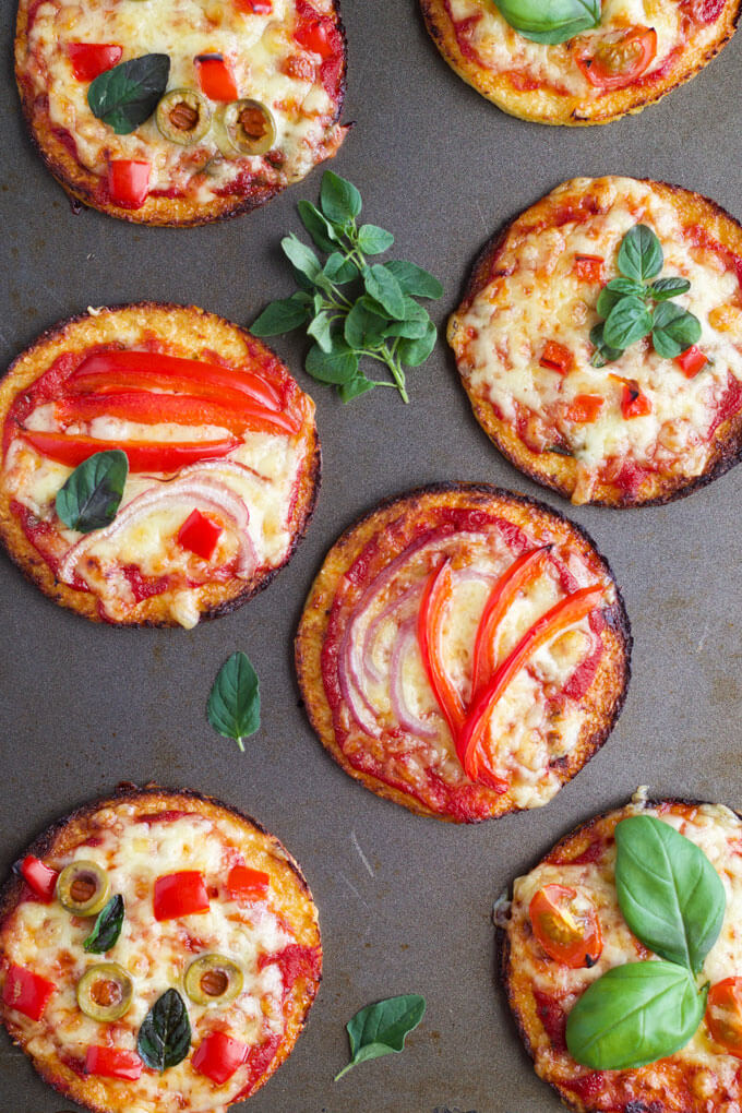 Cauliflower base mini pizzas - a great way to add more veggies into a kid favourite dish.