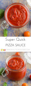 Quick and easy pizza sauce. With only 4 ingredients this sauce is so easy to make but tastes delicious. No added sugar or salt so perfect for kids. #pizzasauce #kidsfood #foodforkids