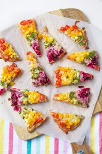 Rainbow pitta pizza a quick and nutritious meal for kids