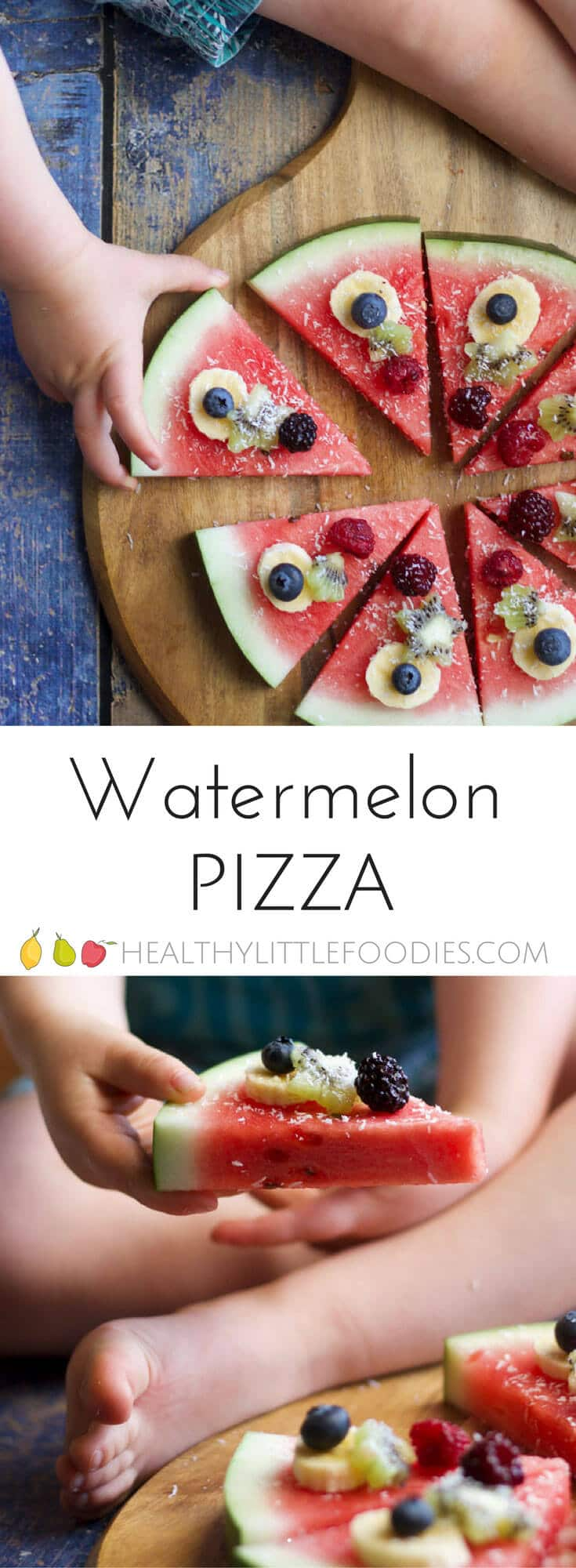 watermelon pizza is a refreshing, fun and healthy snack / dessert for kids. Let kids choose their toppings.