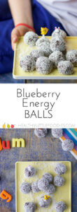 These Blueberry Energy Balls pack a punch. Loaded with nuts and sweetened with dates they are a delicious snack for the whole family. #energyballs #blissballs