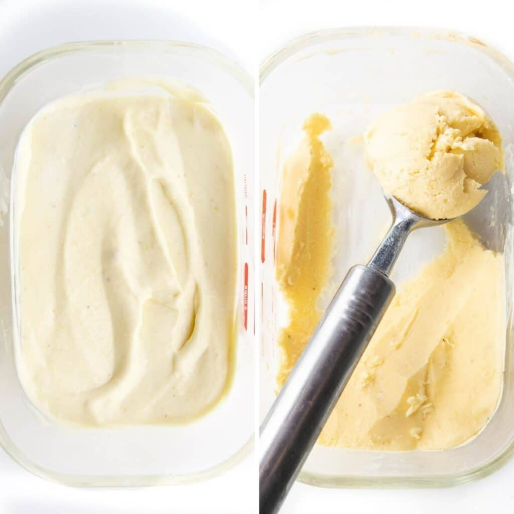 Two Images Side By Side 1) Frozen Mango Yogurt in Glass Container Before Freezing 2) After Freening with Ice Cream Scoop Removing Scoop