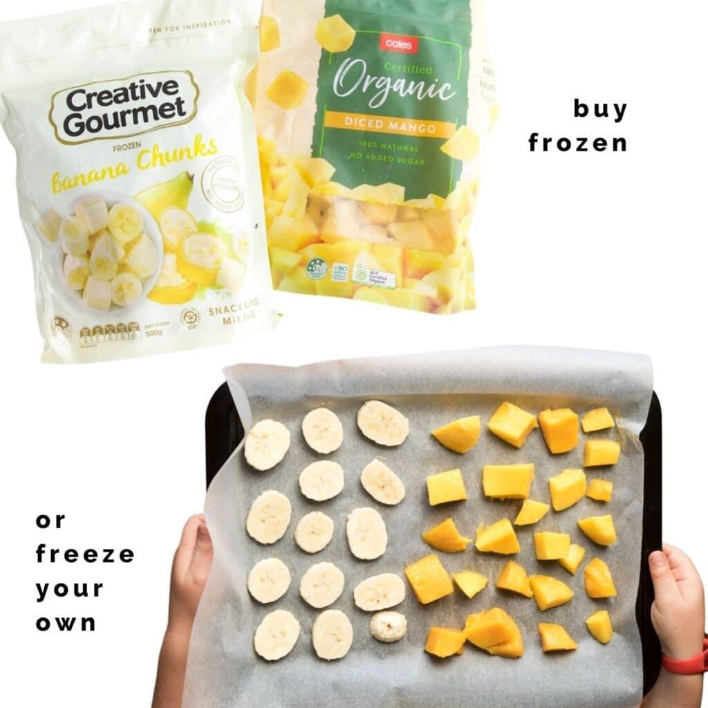 Bags of Frozen Mango and Banana and a Tray of Frozen Banana and Mango